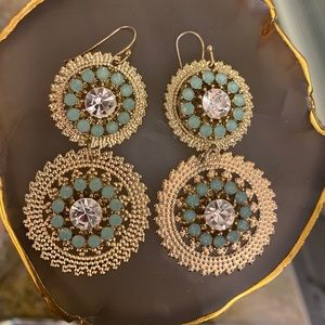 Gold Dangle Earrings With Rhinestone Center